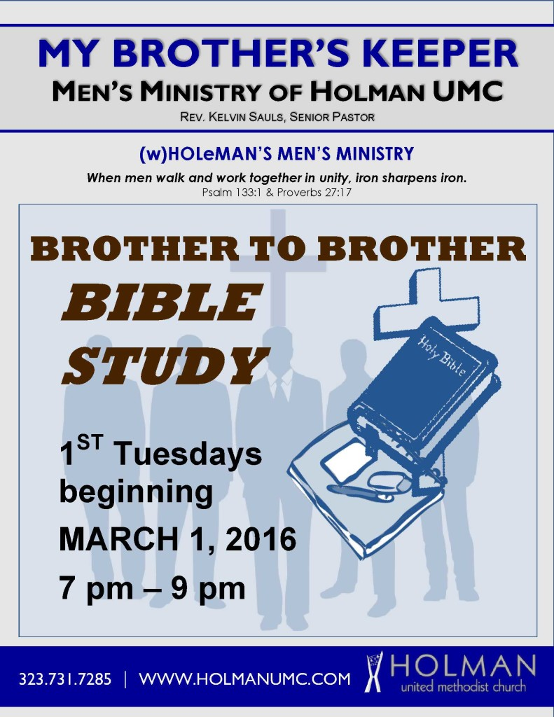 MEN'S MINISTRY - Brother to Brother Bible Study - only