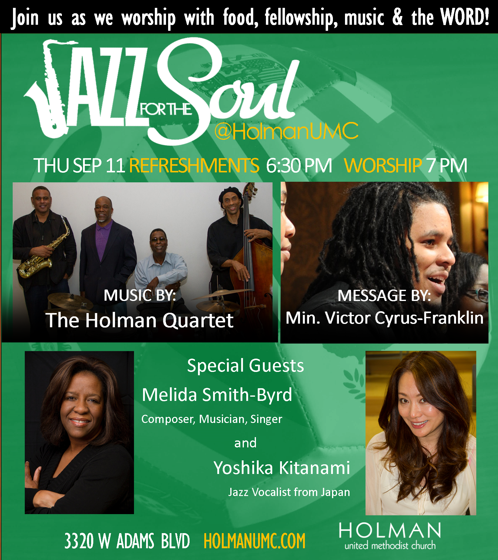 Jazz for the Soul - Square Flyer for social media and bulletin 9-11-2014