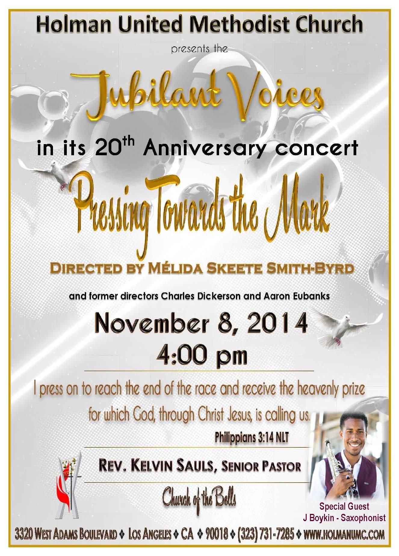 jubilant voices 20th anniversary concert holman united methodist