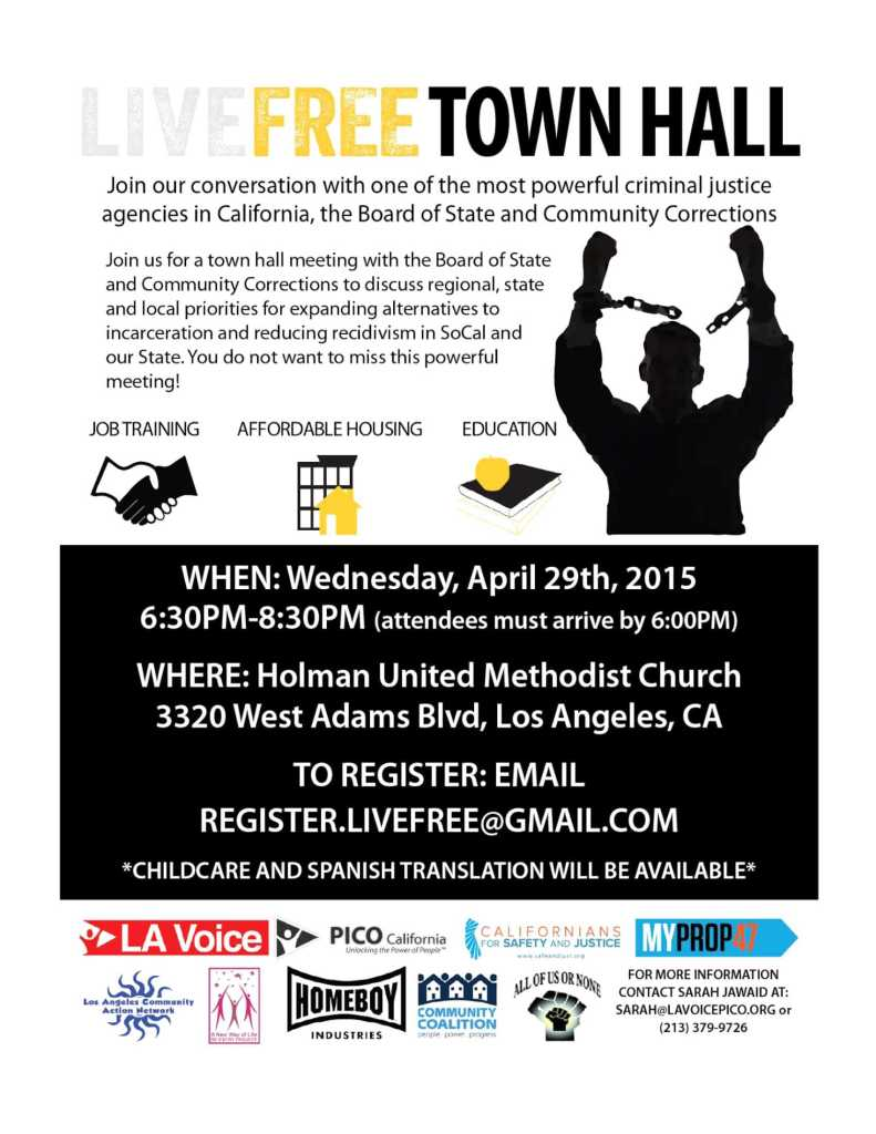 L A VOICE - LIVE FREE TOWN HALL - flyer