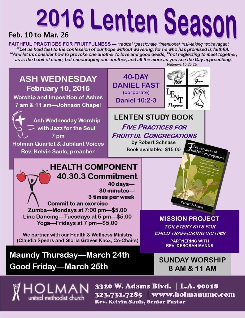 Lenten Season flyer - 2016